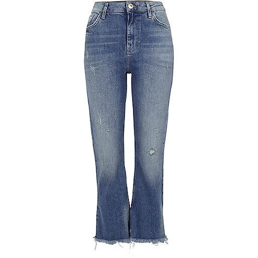 blaue ausgestellte jeans im used look jeans sale damen. Black Bedroom Furniture Sets. Home Design Ideas