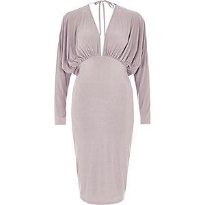 Grey batwing plunge bodycon midi dress