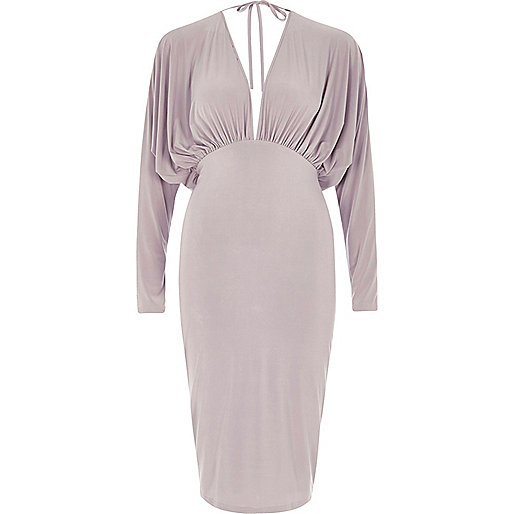 Grey batwing plunge bodycon midi dress