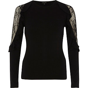 Black lace insert frill long sleeve top