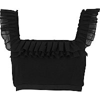 Black chiffon frill crop top