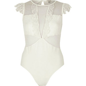 White dobby mesh and lace cap sleeve bodysuit