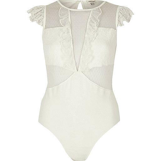 White dobby mesh and lace cap sleeve bodysuit