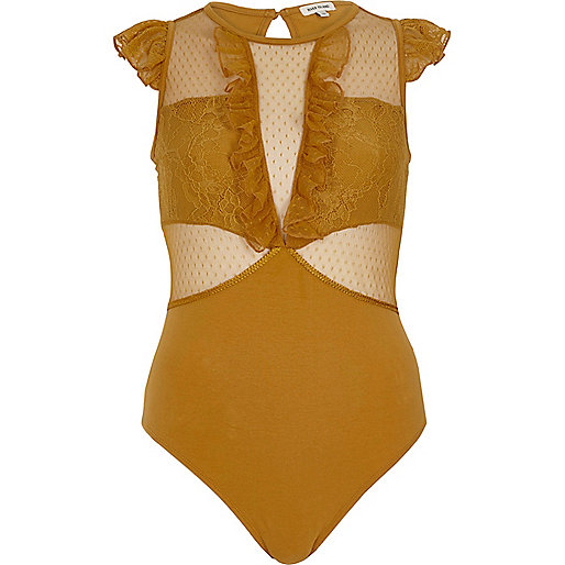 Dark yellow mesh and lace frill bodysuit