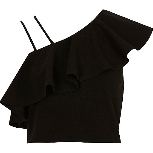 Crop top asymétrique noir à volants et épaules dénudées