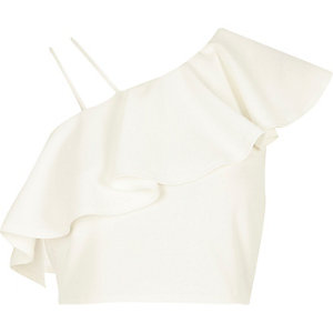 White asymmetric cold shoulder frill crop top