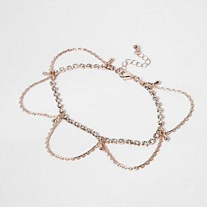 Bracelet de cheville couleur or rose effet drapé