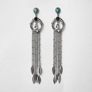 Silver tone turquoise stone dangle earrings