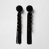 Black pom pom tassel drop earrings