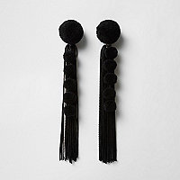 Black pom pom tassel drop earrings