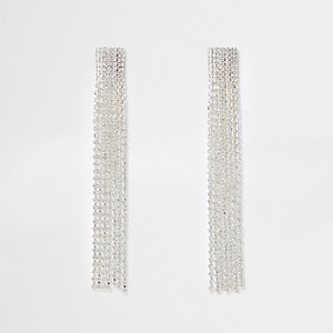 Silver tone multi strand dangle earrings