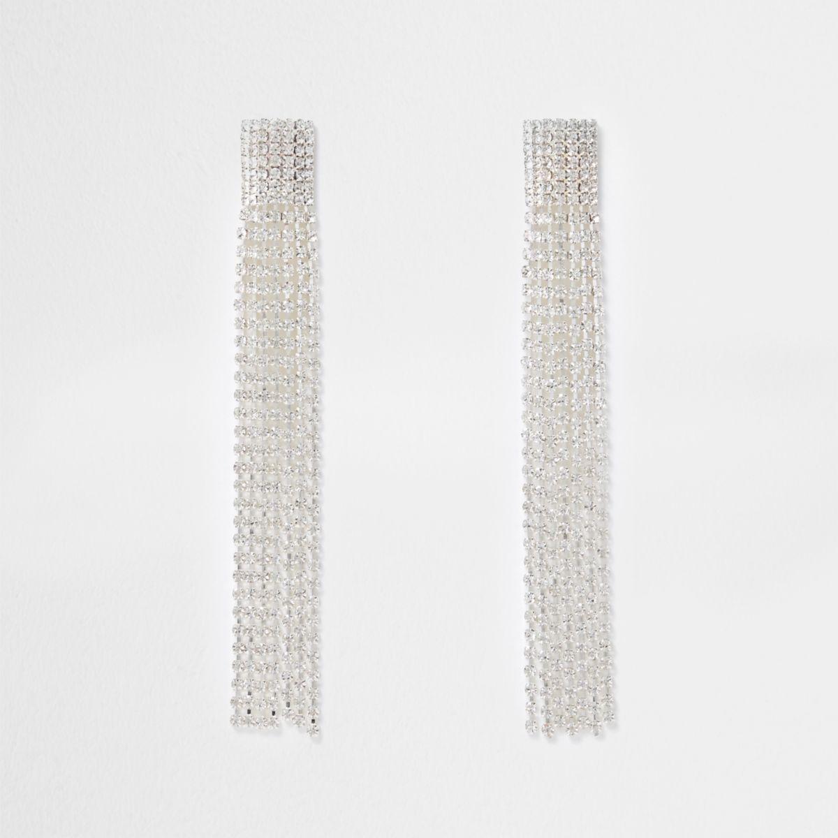 Silver tone multi strand dangle earrings