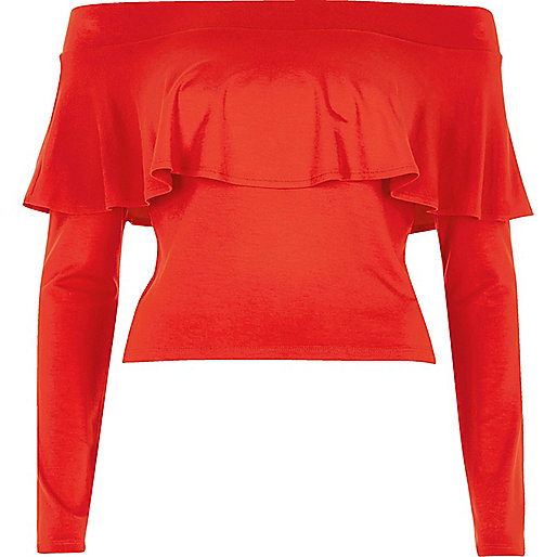 Red deep frill bardot crop top
