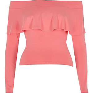 Pink frill long sleeve bardot crop top