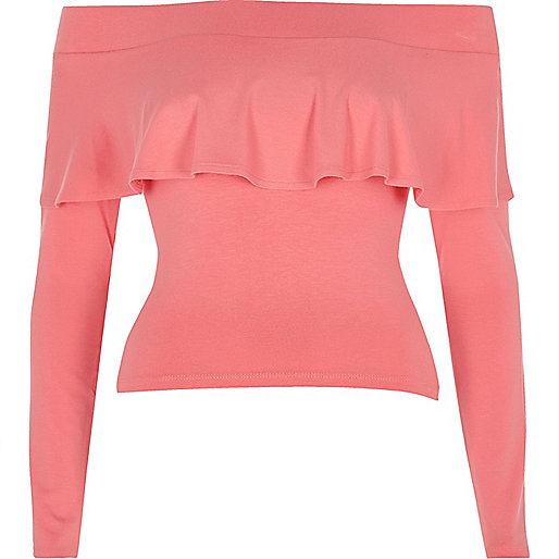 Pink frill long sleeve bardot crop top