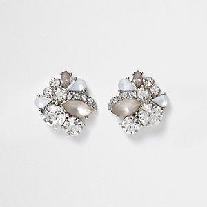 Silberne Ohrstecker mit Steinen
