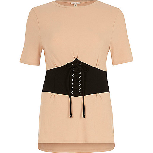 Light pink corset front fitted T-shirt