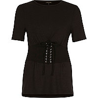 Black corset front fitted T-shirt