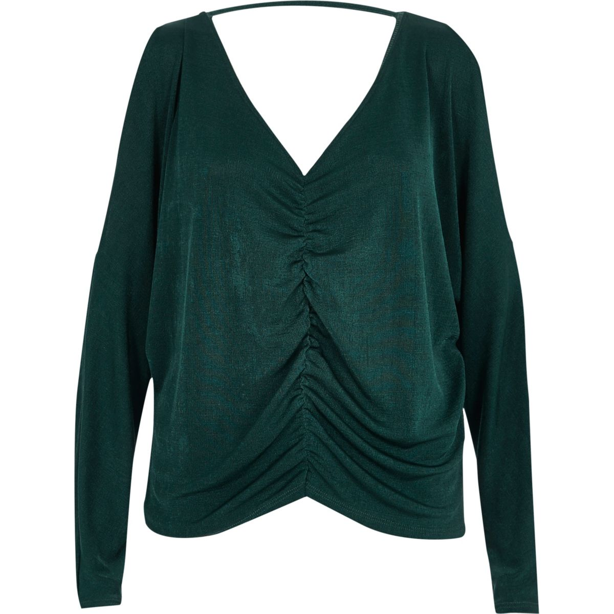 Dark green ruched front batwing top