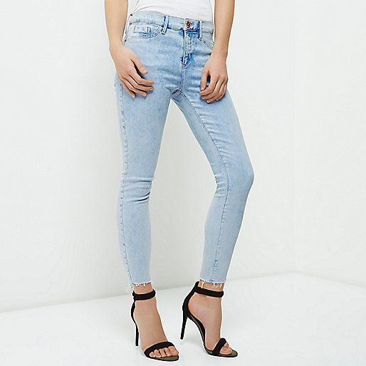 Petite light blue raw cut Molly jeggings