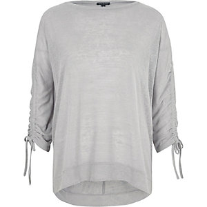 Grey ruched sleeve top