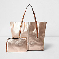 Tote Bag aus Leder in Roségold-Metallic