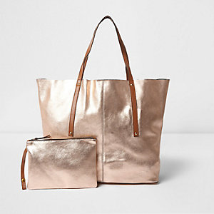 Rose gold metallic leather tote bag