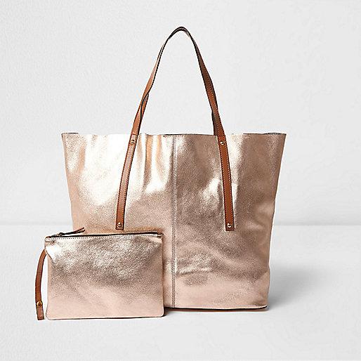 Rose gold metallic leather tote bag