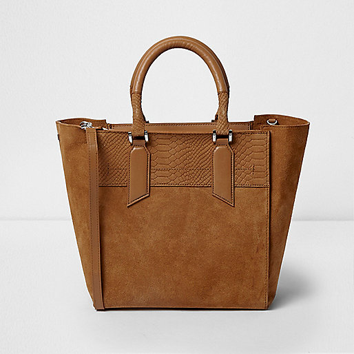 Tan suede winged tote bag