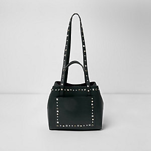 Dark green studded mini tote bag