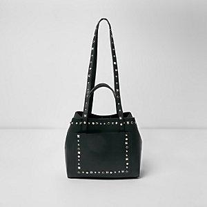 Donkergroene kleine handtas met studs