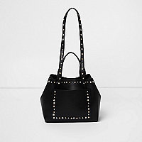 Black studded mini tote bag