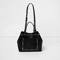 Schwarze, nietenverzierte Tote Bag