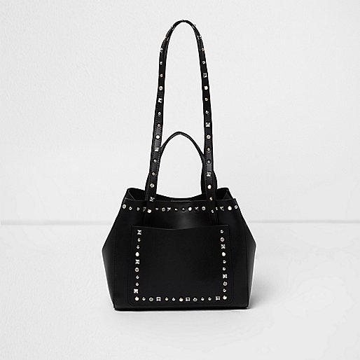 Black studded mini tote bag