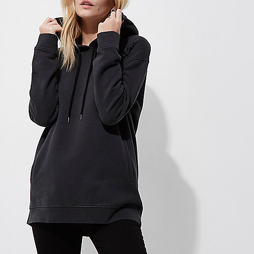 Petite black distressed oversized hoodie