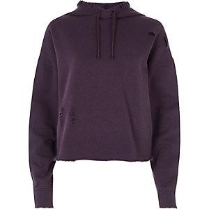 Purple distressed raw cut cropped hoodie
