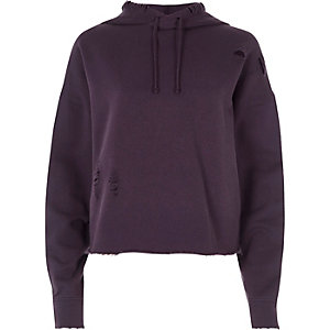 Purple distressed raw cut cropped hoodie