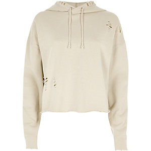 Beige distressed raw cut cropped hoodie