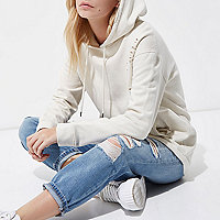 Petite cream distressed oversized hoodie