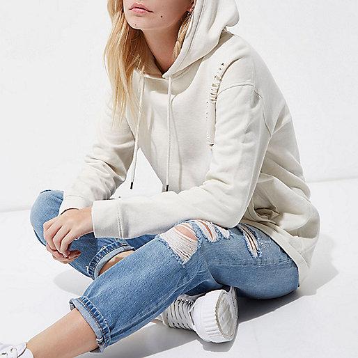 Petite cream distressed oversized hoodie