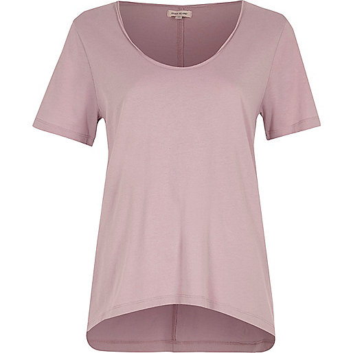 Purple scoop neck T-shirt