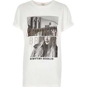 White 'Brooklyn' photo print T-shirt