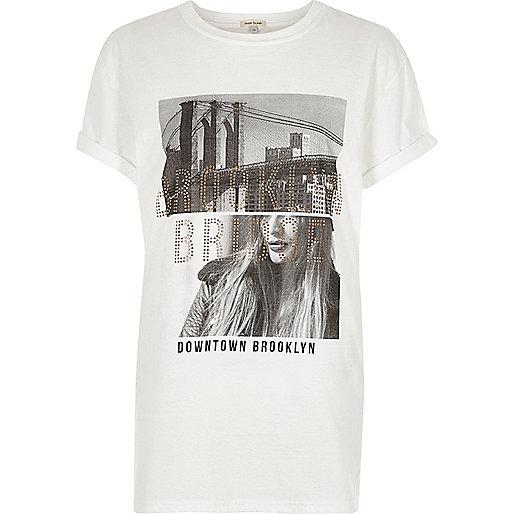 White 'Brooklyn' photo print T-shirt