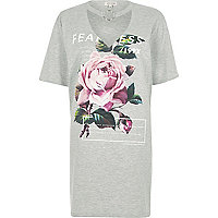 Grey rose print choker ring jumbo T-shirt