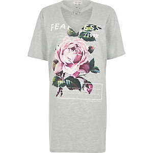 Grey rose print choker ring oversized T-shirt