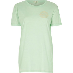 Mint green badge boyfriend T-shirt
