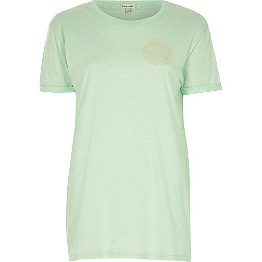 Mint green badge boyfriend T-shirt