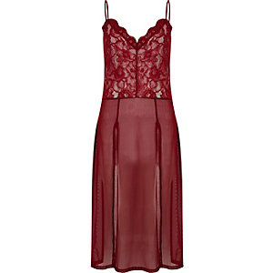 Dark red lace slip cami top