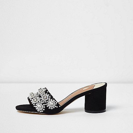 Black diamante embellished block heel mules