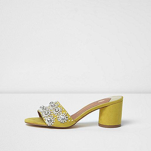 Yellow rhinestone embellished block heel mules